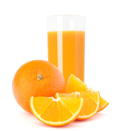 Juice glass and orange fruit isolated on white background cutout Stock Photo - 17908070