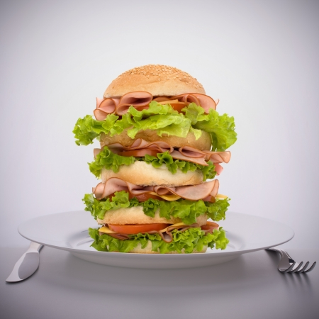 Fast food big sandwich with lettuce, tomato, smoked ham and cheese on plate photo