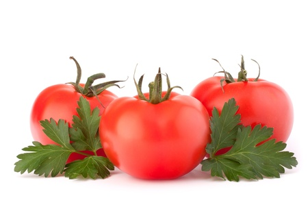Three tomato vegetables and parsley leaves still life isolated on white background cutout Stock Photo - 18072748