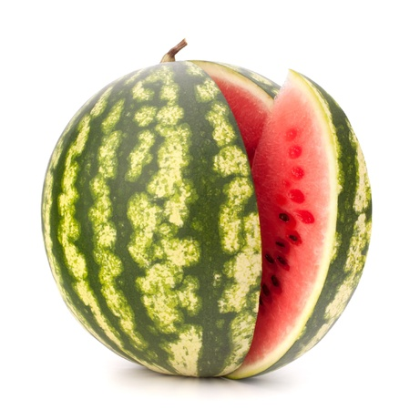 sliced watermelon: Sliced ripe watermelon isolated on white background cutout