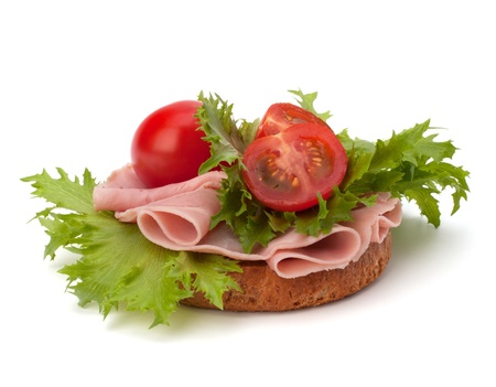 healthy sandwich with vegetable and smoked ham  isolated on white background photo