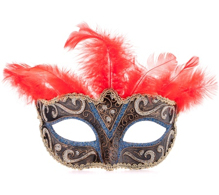 Venetian carnival mask isolated on white background cutout photo