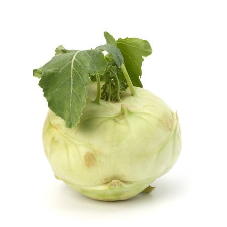 Kohlrabi tuber isolated on white background cutout photo