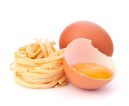 Italian pasta tagliatelle nest isolated on white background Stock Photo - 18504613