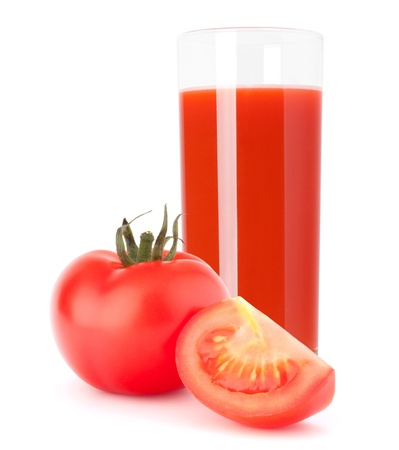 Tomato vegetable juice in glass isolated on white background cutout photo