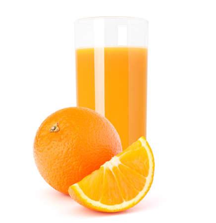 Juice glass and orange fruit isolated on white background cutout photo