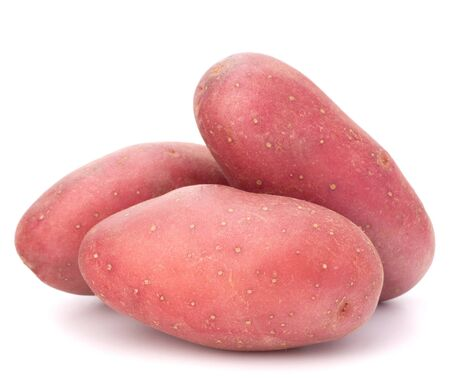 New potato tuber heap isolated on white background cutout photo
