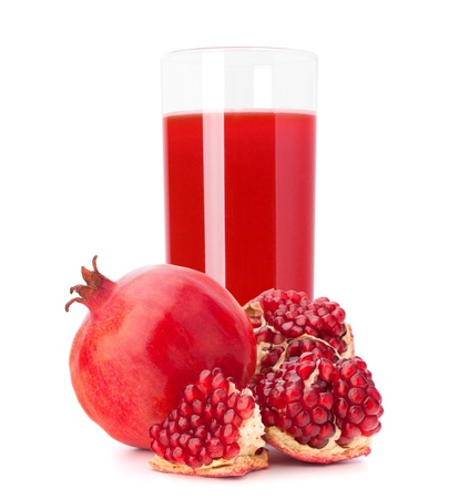 Pomegranate fruit juice in glass isolated on white background cutout photo