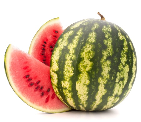 Sliced ripe watermelon isolated on white background cutout photo