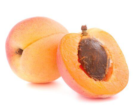 Ripe apricot fruit isolated on white background cutout photo