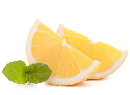 Lemon or citron citrus fruit slice isolated on white background cutout photo