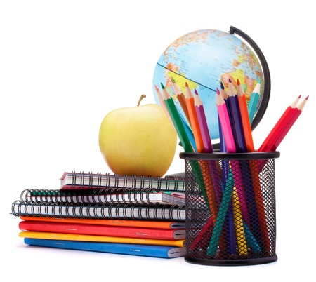 Globe, notebook stack and pencils. Schoolchild and student studies accessories. Back to school concept. Stock Photo - 18504653