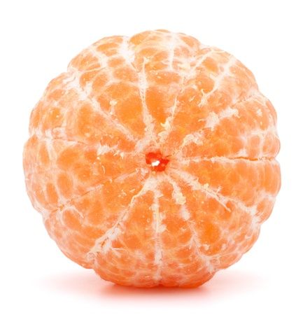 mandarin orange: Peeled tangerine or mandarin fruit isolated on white background cutout