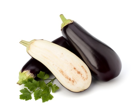 eggplant or aubergine and parsley leaf on white background Stock Photo