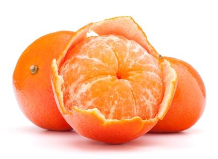 Peeled tangerine or mandarin fruit isolated on white background cutout photo