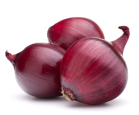 onion peel: red onion bulb isolated on white background cutout Stock Photo