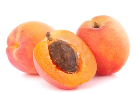 Ripe apricot fruit isolated on white background cutout photo