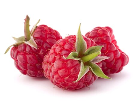 Ripe raspberries isolated on white background cutout photo
