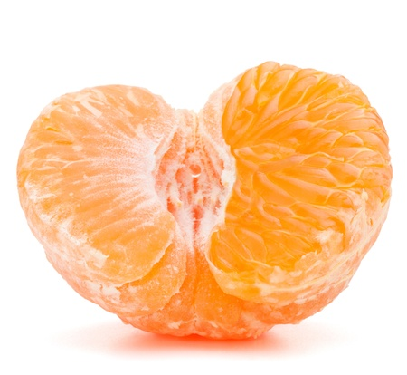 Peeled tangerine or mandarin fruit half  isolated on white background cutout photo