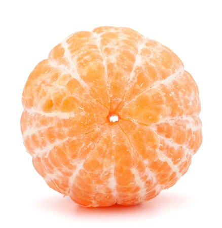 Peeled tangerine or mandarin fruit isolated on white background cutout photo