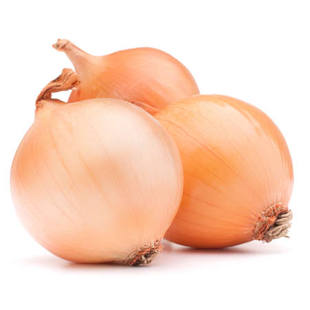 Gold onion vegetable bulbs on white background cutout photo