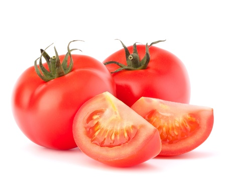slice tomato: Tomato vegetables pile isolated on white background cutout Stock Photo
