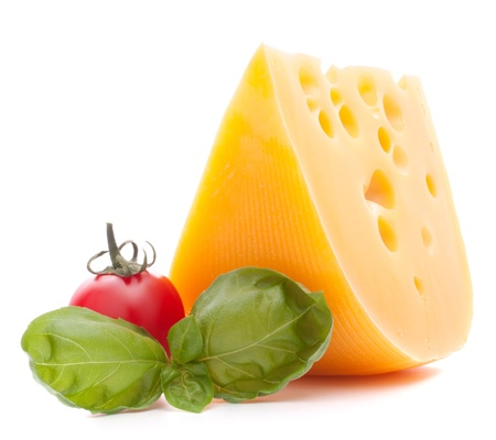 Cheese and basil leaves still life  isolated on white background cutout photo