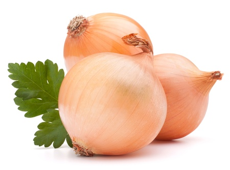 onion isolated: Onion vegetable bulb and parsley leaves still life isolated on white background cutout