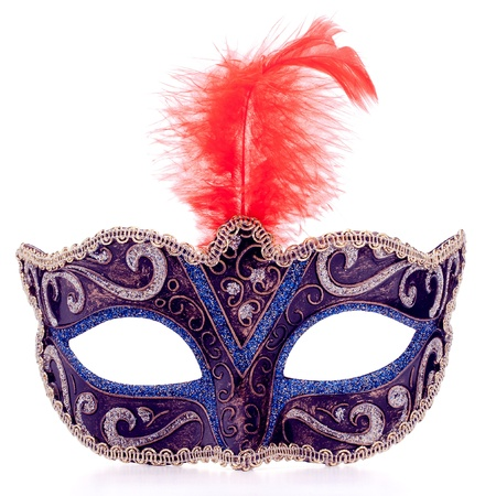 black mask: Venetian carnival mask isolated on white background cutout Stock Photo