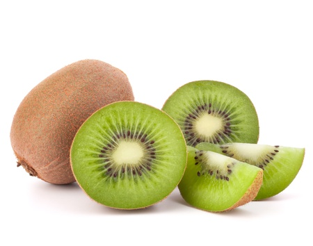Whole kiwi fruit and his segments isolated on white background cutout photo