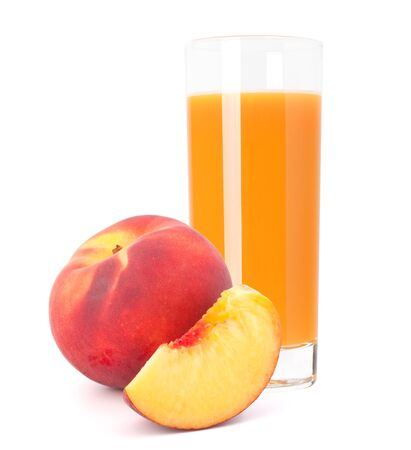Peach fruit juice in glass isolated on white background cutout photo