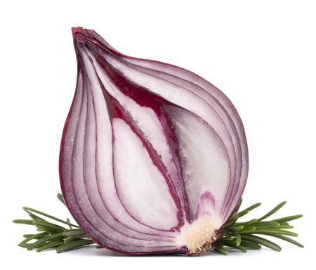 red onion and rosemary leaves still life  isolated on white background cutout photo