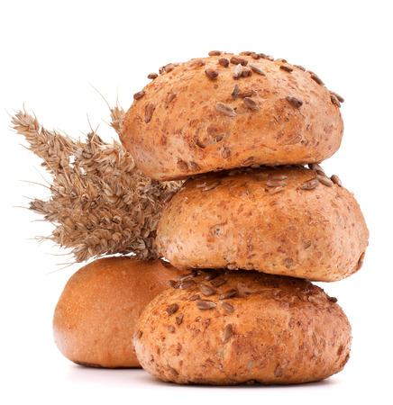 hamburger bun or roll  and wheat ears bunch  isolated on white background cutout photo