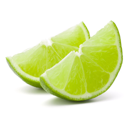 Citrus lime fruit segment isolated on white