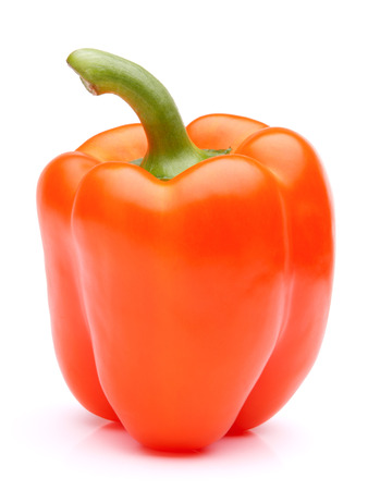 Orange sweet bell peppers isolated on white background