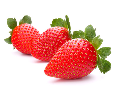 bacca: Strawberry isolated on white  Stock Photo