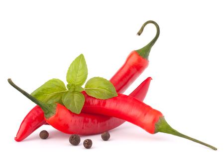 pepe nero: Hot chili rosso o peperoncino e foglie di basilico ancora vita isolata su bianco Archivio Fotografico