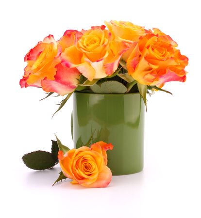 matherday: Orange rose bouquet in vase  isolated on white  Stock Photo