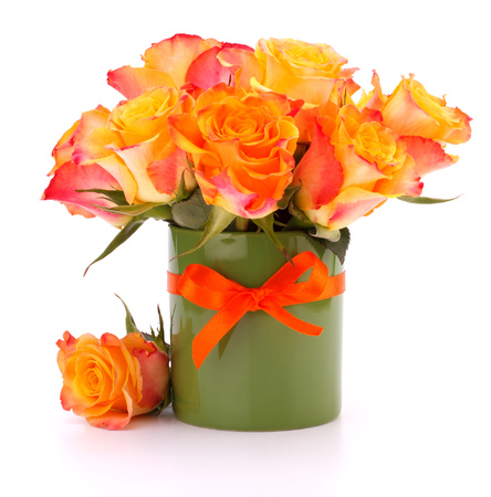 Orange rose bouquet in vase  isolated on white background cutout photo