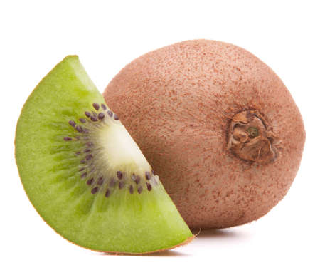 Sliced kiwi fruit segment  isolated on white background cutout photo
