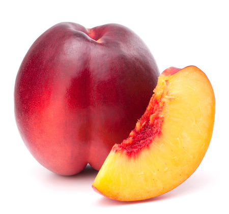 velvety: Nectarine fruit isolated on white background cutout