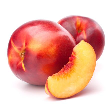 velvety: Nectarine fruit isolated on white background   Stock Photo