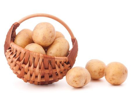 full willow: Potato tuber  in wicker basket isolated on white background