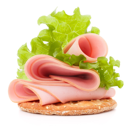 ham: sandwich with pork ham on white background  cutout