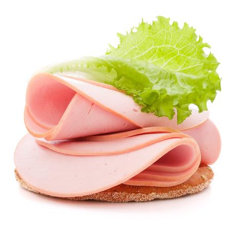 흰색 배경에 돼지 고기 햄 샌드위치 컷 아웃 스톡 콘텐츠