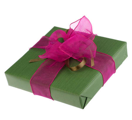 festive gift box isolated on white background photo