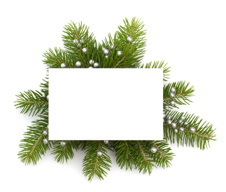 christmas religious: Christmas decoration with greeting card isolated on white background Stock Photo