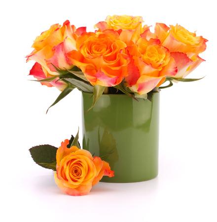 matherday: Orange rose bouquet in vase  isolated on white background cutout Stock Photo