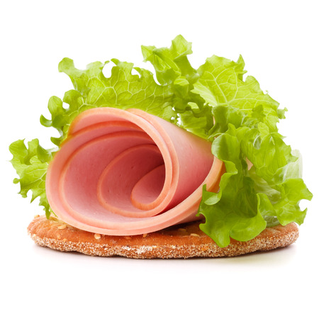sandwich with pork ham on white background   photo