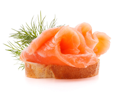sandwich or canape with salmon on white